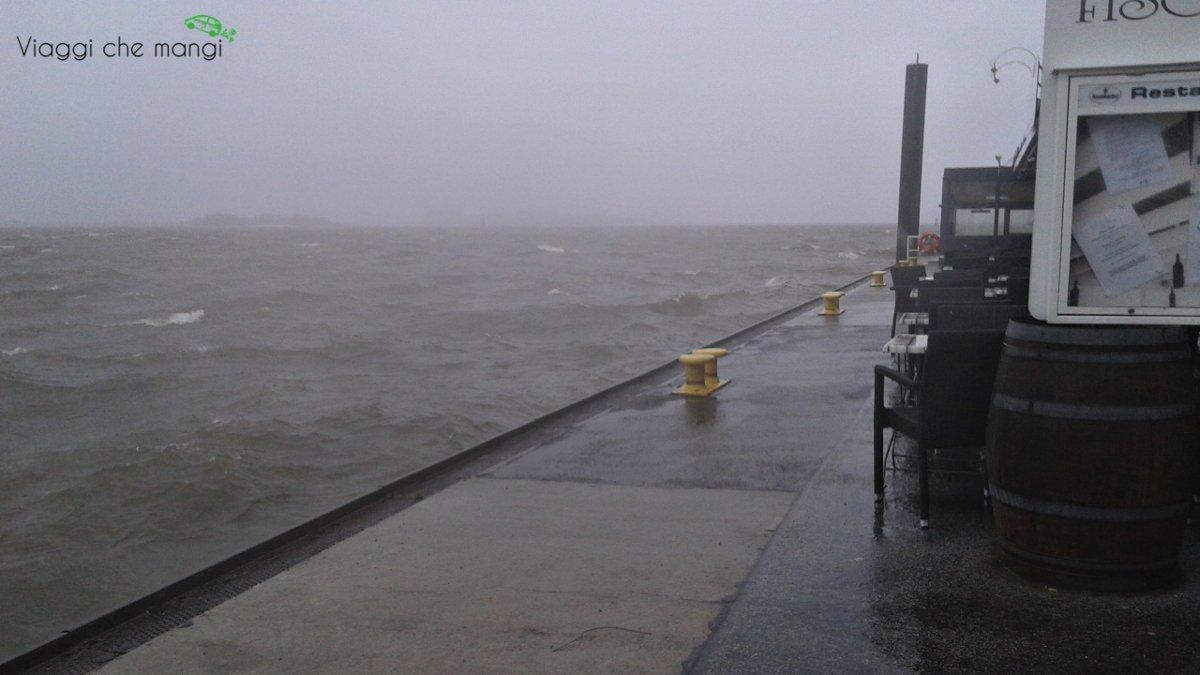 Molo di Blankenese durante la tempesta.