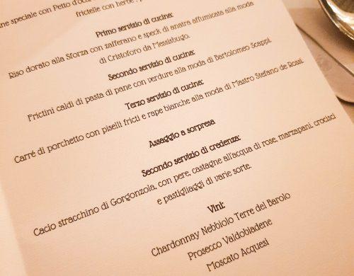 Il menù della serata La tavola di leonardo.