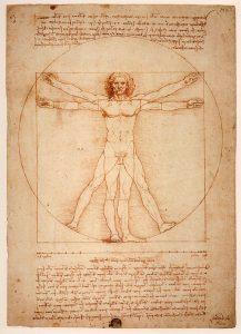 Uomo Vitruviano, disegno di Leonardo da Vinci.