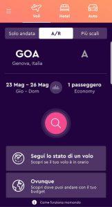 screenshot dell'app di momondo per confrontare voli economici.