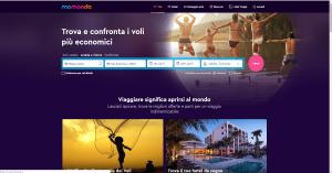 screenshot del sito momondo per confrontare voli economici