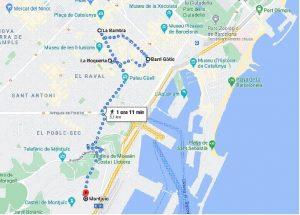 mappa secondo giorno per visitare barcellona in 3 giorni