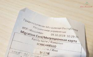 documento d'ingresso per un viaggio in transnistria