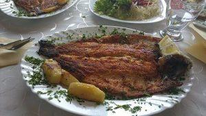 trota di ohrid, uno dei piatti tipici macedoni. E.delova [CC BY-SA (https://creativecommons.org/licenses/by-sa/4.0)]